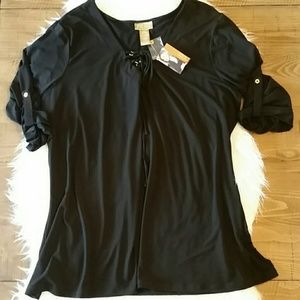 Miss Tina Tops - Miss Tina Black Blouse Gold Accent Plus 3X NWT
